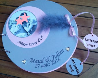 Guestbook bubble powder pink and silver feathers 50 pages
