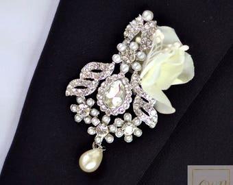 Wedding Boutonniere Buttonhole Boutonnieres Wedding Grooms Boutonniere Silver Boutonniere Ivory Boutonniere Crystal Pearls Boutonniere