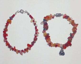 Red Agate Bracelet Set