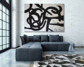 XXL Black and White Abstract Painting / Large Abstract Art / Black and White Painting / Black and White Abstract Art