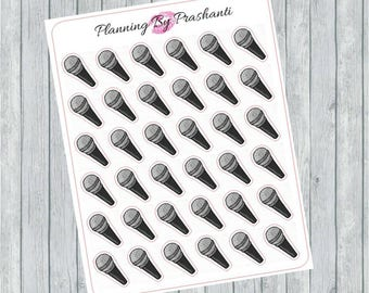 Microphone Singing Instrument Planner Stickers - For Erin Condren Life Planner or Happy Planner