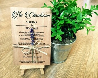 Wooden invitation/ real wood invitations/ wedding invites