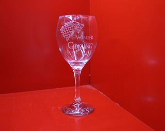 Winter Is Coming Wine Glass With The Stark Dire Wolf Game Of Thrones Laser Engraved Sigil