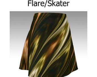 Gold Skirt, Copper Skirt, Topaz Skirt, Flare Skirt, Skater Skirt, Fitted Skirt, Bodycon Skirt, Unique Skirt, Cute Skirt, Short Skirt, Women