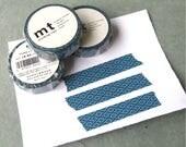 Blue Geometric Floral Pattern MT Japanese Washi Tape 15mm Width 10 Meters (1 Roll)