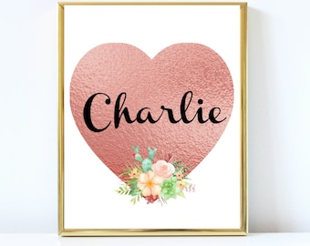 Rose Gold personalized Name Print, Charlie Nursery art, Instant download print, Nursery decor, ArtStudio77, Baby Shower Gift, Charlie