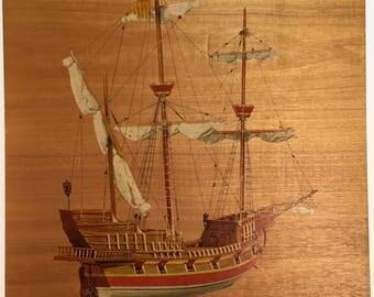 Vintage Italian print on wood veneer of 16th century Venetian war galleon