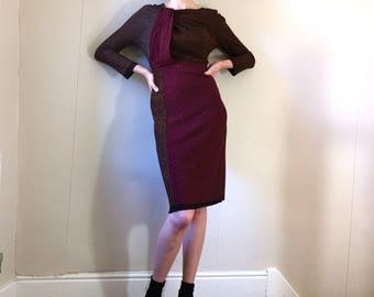 90s Sonia Rykiel metallic lurex bodycon wiggle dress. Size 8/10