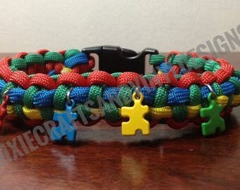 Autism Awareness Paracord Bracelet with Charms