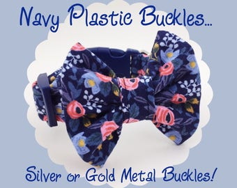 Rifle Paper Co. Navy Blue Rosa & Bow Dog or Puppy Collar