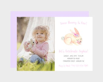 Some Bunny Is Birthday Party Photo Invitation, Pink Bunny Photo Invitation, Spring, Easter Birthday Invitation, Girl Bunny Party, Printable