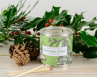 December Forest Candle Tin - Xmas Candle Gift - Soy Wax Candle - Pine - Holly - Eucalyptus - Home Fragrance - Hand Poured Tin