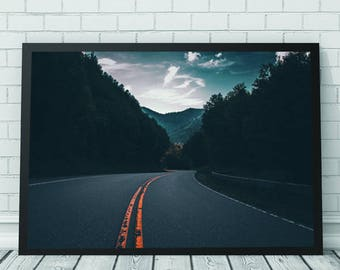 Open Road Wall Art Print, Open Road, Forest, Travel, Printable Digital Download, Contemporary Photography, Photography, Abstract