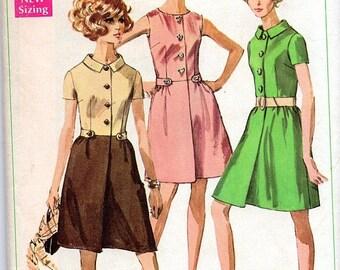 GOODBYE SUMMER SALE Vintage 60's Shirt Dress Pattern: Simplicity 7982, size 14, bust 36; c. 1969