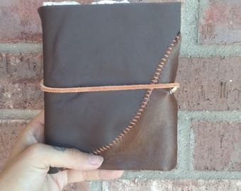 Leather bound cotton page journal