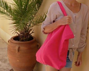 Raspberry linen tote bag