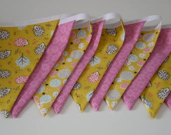 Garland of 10 flags in fabric - multicolors tones