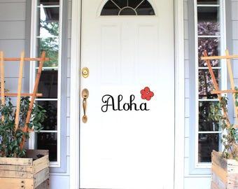 Aloha Front Door Decal, Back Door Greeting, Screen Door Sticker, Entryway  Sticker,