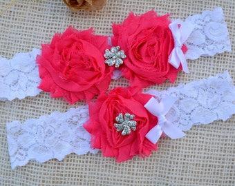 Pink Garter Set, Hot Pink Garter, Pink Bridal Clothing, Garter Pink, Garter For Brides, Romantic Garter, Lace Garter Set, Pink Keep Garter