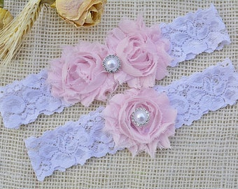 Garter Pink, Pink Garters, Garter Set Pink, White and Pink Garter, Vintage Garters, Pink Wedding, Soft Pink Garter, White Baby Pink Garter