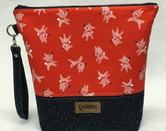 SALE Little Deer Project Bag - Cotton + Steel - knitting/crochet/zipper pouch