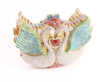 Swan Crystal Minaudière Clutch Bag