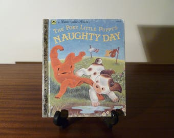 """Vintage 1985 Book """"The Poky Little Puppy's Naughty Day"""" - A little Golden Book / Retro kid's book / Golden Press Library"""