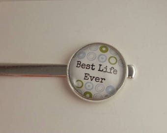 """JW Men's Tie Bar featuring """"Best Life Ever."""" Blue and green target background Jw menswear, jw accessories, jw gifts, jw items"""
