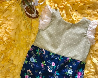 Floral blue and green romper