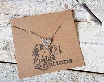 Hand stamped heart initial necklace • Gift, keepsake. Love, anniversary, engagement, bride, bridesmaid, maid of honour.