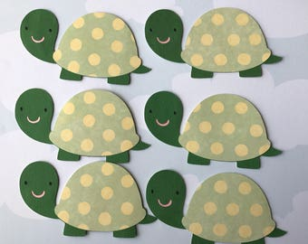 Turtle baby shower die cuts, polka dots baby turtle, turtle themed birthday party, set of 6 cut outs.