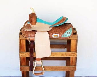 Turquoise Beaded Rough Out Floral Tooled Handmade Western Horse Pleasure Trail leather Saddle