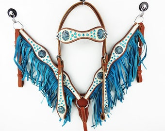 Hand Made Turquoise & White Headstall Leather Western Horse Trail Bridle Breast Collar Plate Fringe Barrel Racer Cowgirl Bling Tack Set