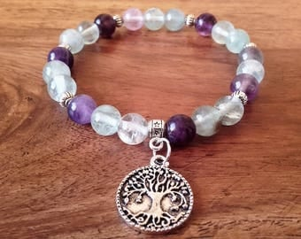 "Bracelet ""Concentration"", 8 mm fluorite, medal tree of life, about 18 cm, Crystal healing"