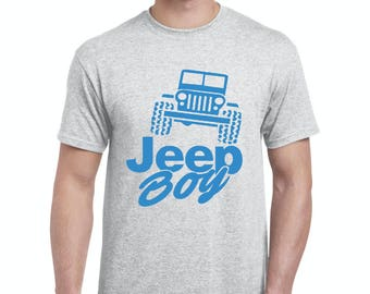 Free Shipping! Blue Tees Jeep Boy Humor Trucks Gift for Christmas Birthday Match with Jeans Leggings Hats Men's T-Shirt Tee