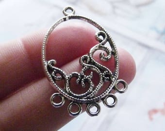 Earring Connector, Chandelier Connector, 5 Hole Filigree Necklace Connectors, Antiqued Silver Tone Oval Bracelet Connector, Earring Findings