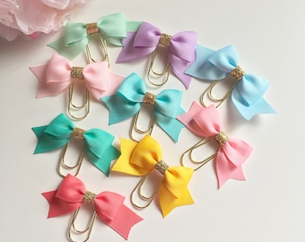 Mini Pastel wide bow paper clips