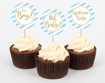 Baby Shower Cupcake Toppers, Stickers, Light Blue and Navy, Gold Glitter, Printable Cupcake Toppers,Baby Shower, Boy, 003