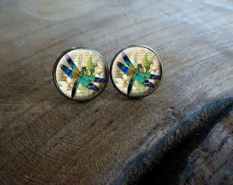 Boucles d'oreilles puces cabochon puce la libellule Boucles d'oreilles rétro vintage, Boucles d'oreilles cabochon romantique la libellule