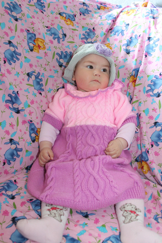 Hand knit dress Baby shower Baby girl dress Pink tunic Knitting baby