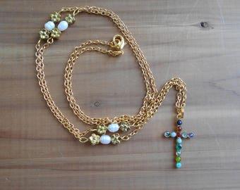 """New Jerusalem Necklace, Gemstone Cross Necklace, Revelation 21 Necklace, 29"""" Gold Plated Necklace"""