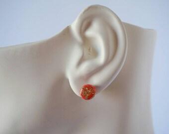 Orange Gold Leaf Stud Earrings