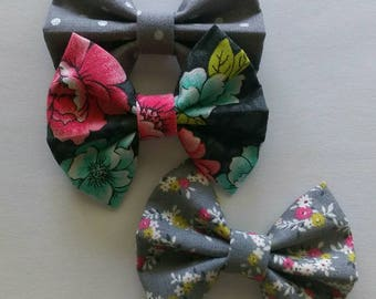 Floral Fabric Hair Bow Set