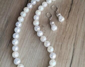 Bridal Jewelry Set,  Quartz Crystal Necklace, Quartz  Crystal earrings, Clear jewelry