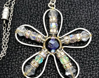 Chain Boho  Hammered Wire Weaved  Flower Pendant with  Silver Reflective Crystal Beads.Gold/Silver/Purple ,Sparkle  eye-catching Necklace.