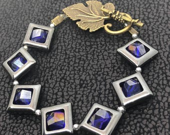 Protective Spiritual with Life Energy Hand Made Hematite Stone Rombs Bracelet.Purple Crystal Beads Bracelet for Owner Protection.