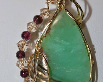 Green Peruvian Opal, Gold Filled Wire Wrapped Peruvian Opal, Garnet accented Peruvian Opal Pendant (G262)