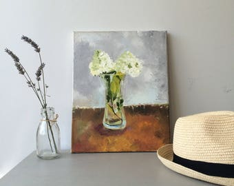 White hydrangea in case. Original oil painting on stretched canvas, ready to hang, by Irish Artist Irene Mc Cabe, Mc Cabe Creative