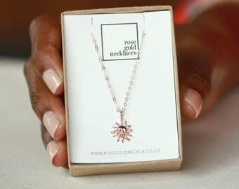 Sun Pendant, Sun Necklace, Sun Jewelry, Rose Gold Sun, Charm Necklace, Gift For Mom, Sunburst Necklace, Tiny Sun Necklace, Summer Necklace