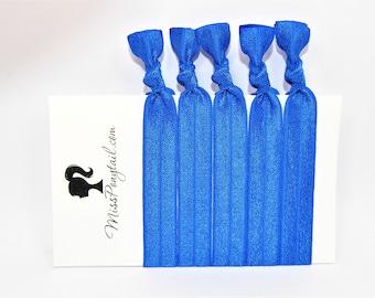 Blue Hair Ties, Royal Blue, Bulk Hair Ties, Knotted Hair Ties, Yoga Hair Ties, Handmade Hair Ties, Ponytail Holders, Elastic Hair Ties